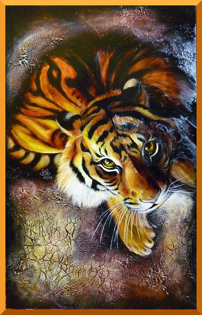 роспись по зеркалу по стеклу тигр
