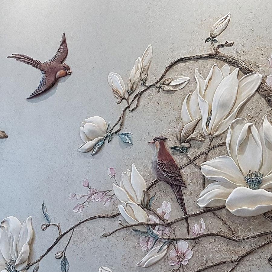 Барельеф Магнолии и птицы