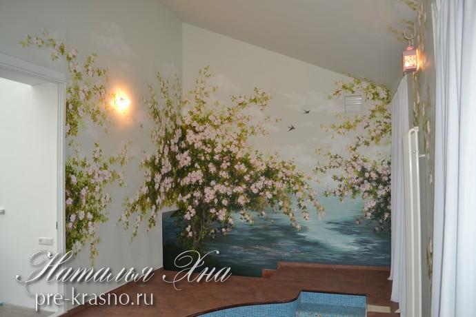 декоративная роспись в бассейне в Москве