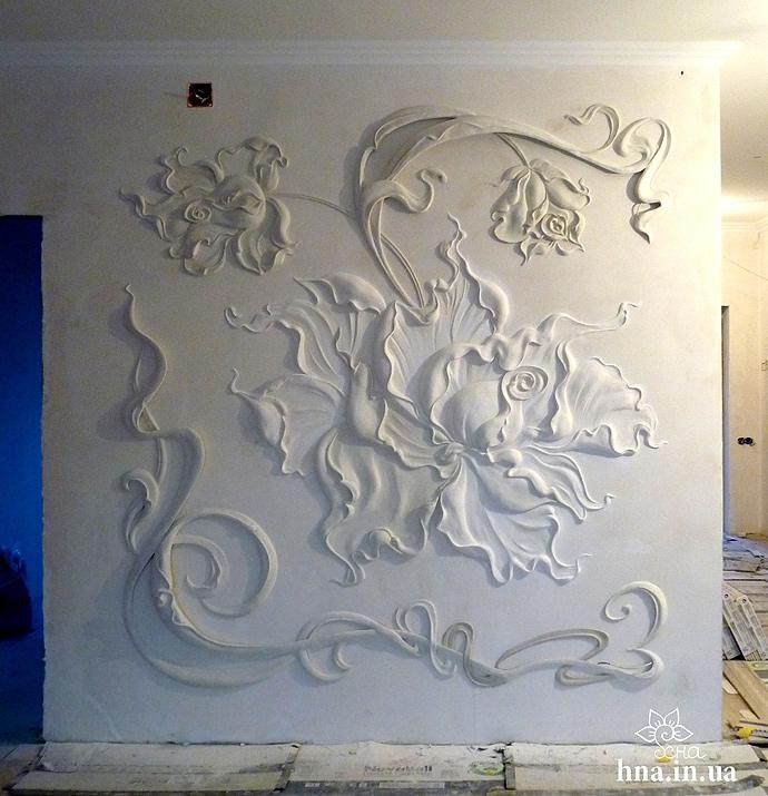 объемная лепка роспись стен цветы